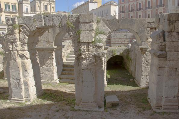 Remains of the Roman Amphitheatre in Piazza San'Oronzo in Lecce, Puglia, Italy
