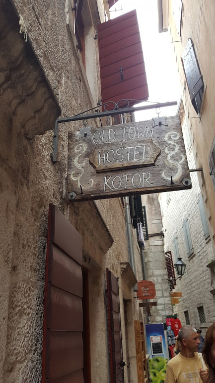 Sign of the old town hostel on kotor