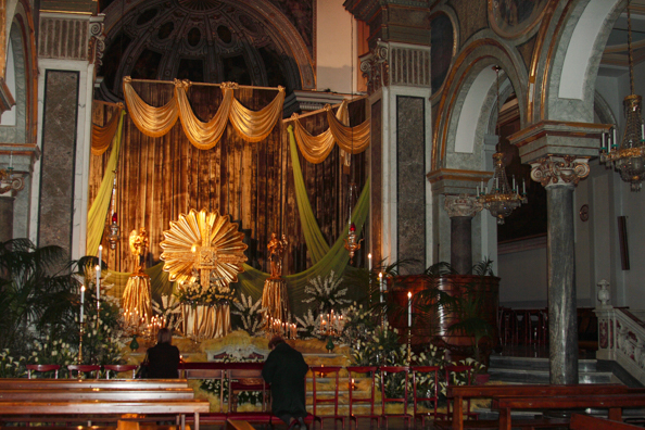 Easter decorations in the Basilica of Saint Antonino in Sorrento, Italy 0081