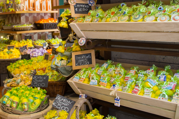 Souvenir shop selling lemon products in Sorrento, Italy