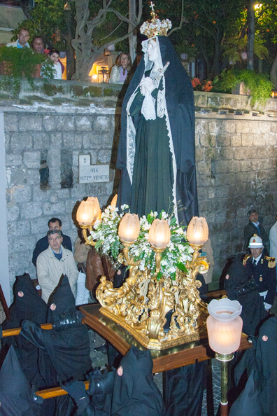Statue of the Virgin Mary in the Black Parade at Easter in Sorrento, Italy