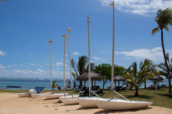 Boats lined up outside the water sports centre at the Tamassa hotel, Bel Ombre on Mauritius