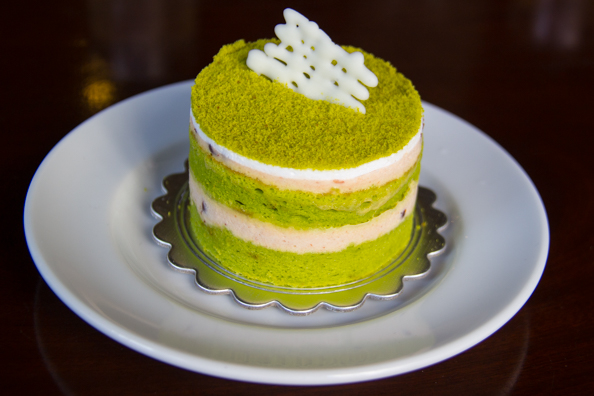 Green tea sponge in Trung Nguyen Legend coffee shop in Ho Chi Minh City in Vietnam