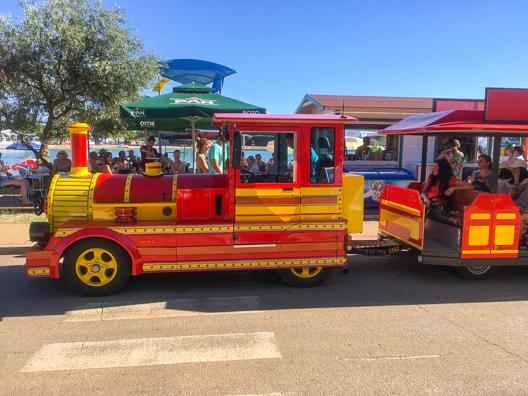 The tourist train in Umag on the Istrian Coast of Croatia