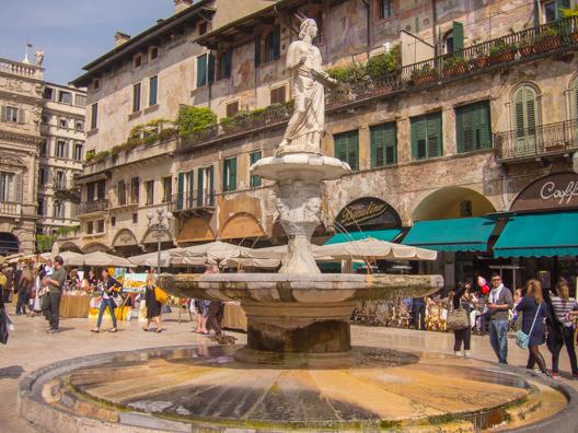 Fountain of Madonna Verona in Piazza Erbe in Verona, Italy