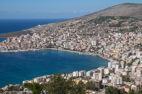 View of Saranda from Lekuresi Castle in Albania