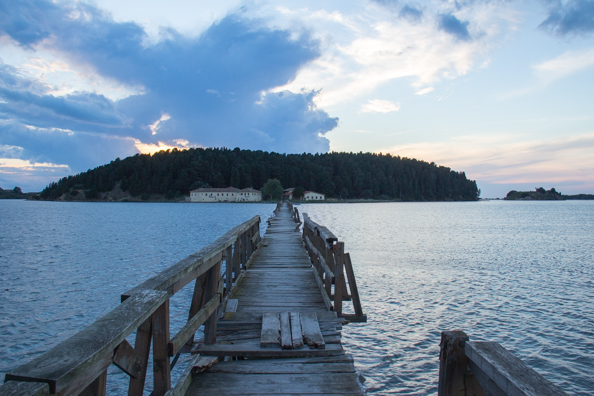 Wooden bridge across Narta Lagoon to Zvërnec Island in Albania