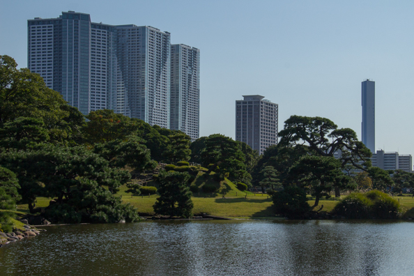 Hama Rikyu Garden and the Shiodome District of Tokyo in the background