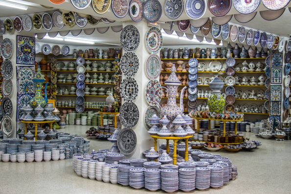 Ceramics on display in a ceramics factory and shop in Nabeul, Tunisia