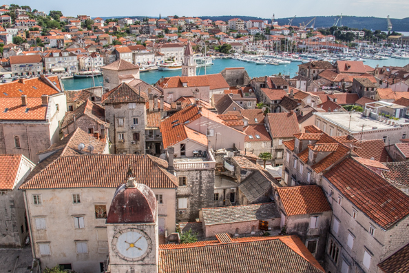 View from the bell tower of the Cathedral of St Lawrence in Trogir, Dalmatia in Croatia