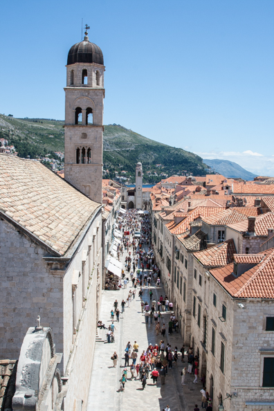 Stradun Street from the city walls of Dubrovnik in Dalmatia, Croatia