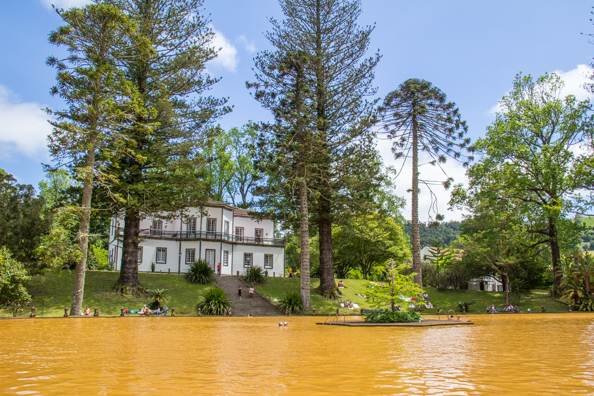 Thermal pool in the Azores at the Terra Nostra Garden in the Furnas Valley