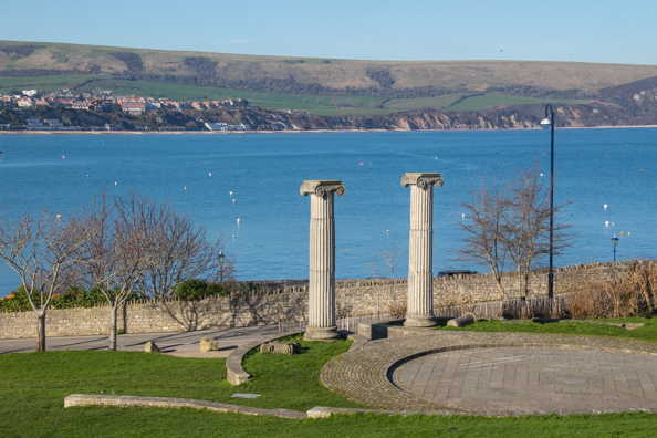 Ionic Columns in Swanage on the Jurassic Coast in Dorset, UK
