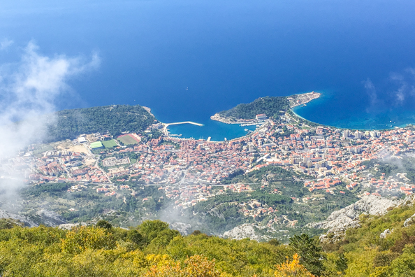Looking down on Makarska from the Peak of Vosac on Mount Biokovo in Croatia