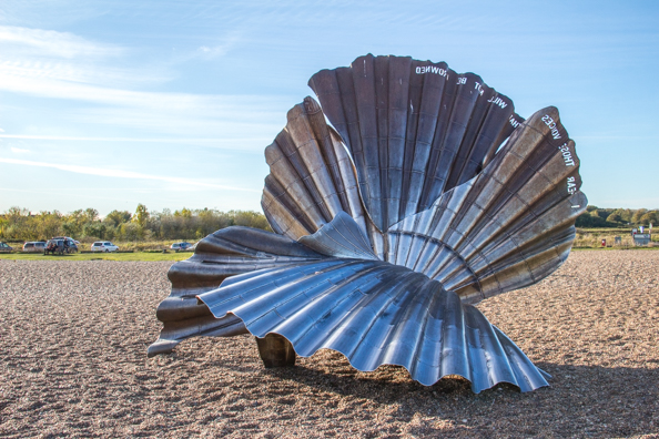 Scallop sculture on the beach at Aldeburgh in Suffolk
