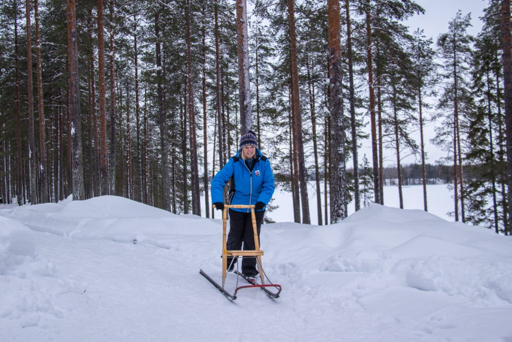 Kick sledding in the Wild Taiga in Finland