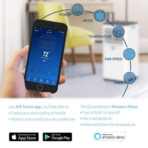 portable air con app for Apple and Android
